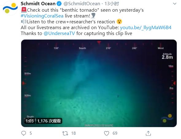 """研究人员在进行深海探测时发现神秘的""""海底龙卷风"""""""