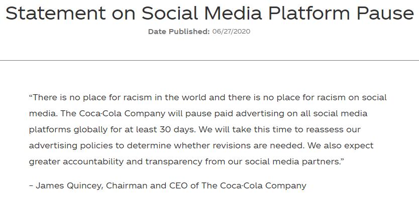 可口可乐宣布暂停全球社交媒体广告至少一个月