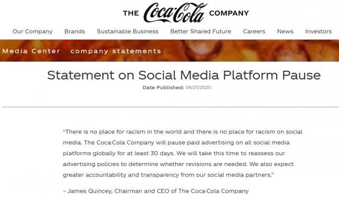 可口可乐国外新媒体投放按下暂停键 在国内跟不跟?