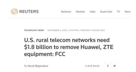 FCC催政府报销:移除华为中兴设备成本为18亿美元