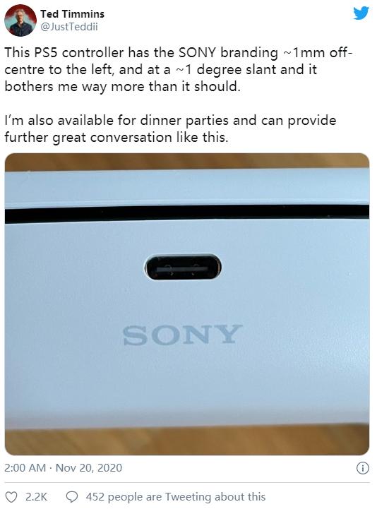 逼死处女座 网友晒索尼PS5手柄:SONY Logo竟然歪了