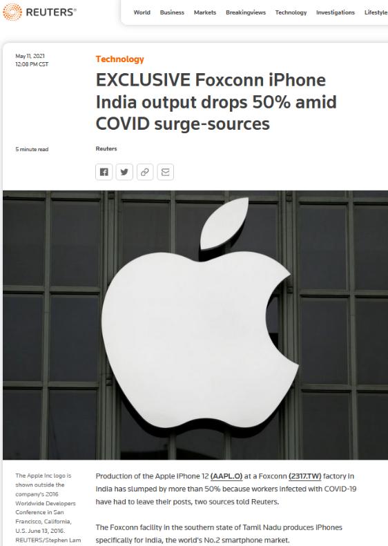 印度疫情崩盘 苹果/富士康也崩溃了 三四年内无解