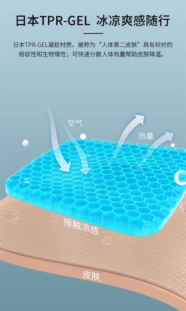 日本凝胶 即用即凉:昕科蜂窝凝胶冰坐垫33元新低