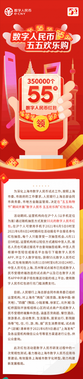 真捡钱!上海将发放35万份数字人民币红包 每份55元