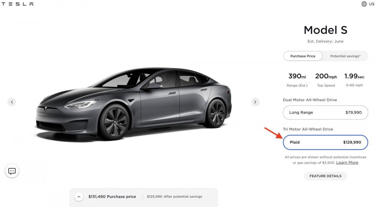Model S Plaid还未开始交付 特斯拉宣布涨价1万美元