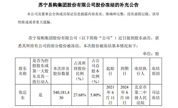 股份被冻结 股价创8年新低 苏宁向法院提出执行异议