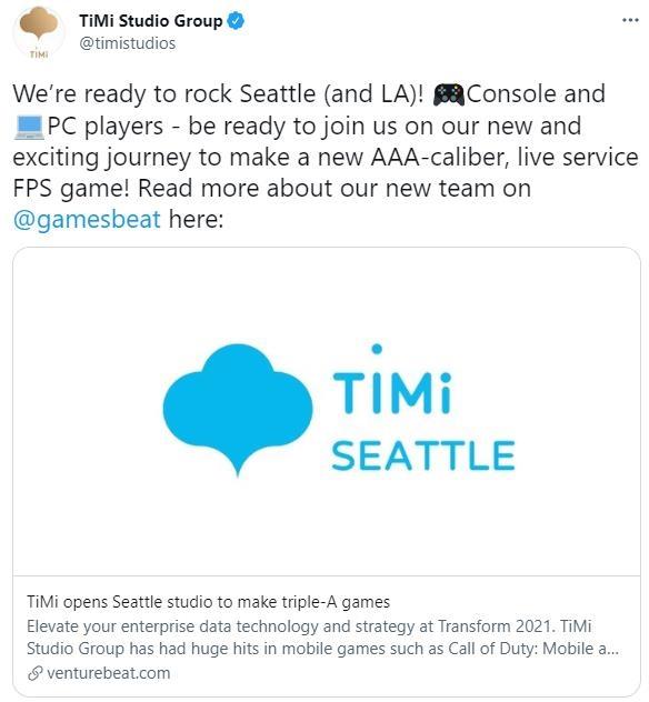 腾讯天美在西雅图开设新工作室 致力于制作3A主机游戏