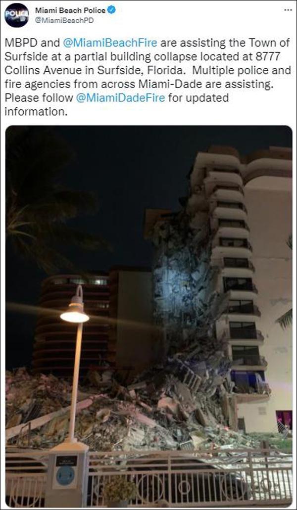 美国一高层公寓凌晨倒塌 现场一片狼藉:目击者称像遭遇龙卷风和地震