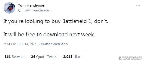 舅舅党Tom Henderson爆料:《战地1》PC平台下周或将免费下载