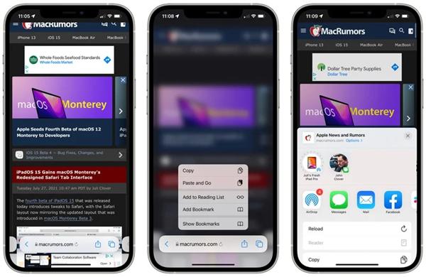 iPhone/iPadOS 15 Beta4开发预览版发布:Safari刷新按钮终于回来了