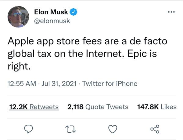 马斯克力挺Epic:苹果App Store佣金就是全球互联网税