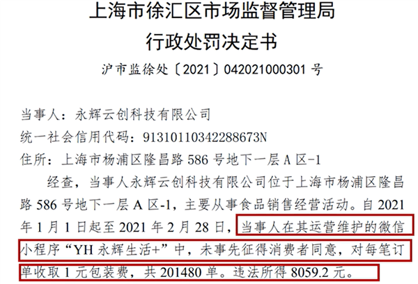 永辉超市违规收取1元包装费被罚:未事先征得消费者同意