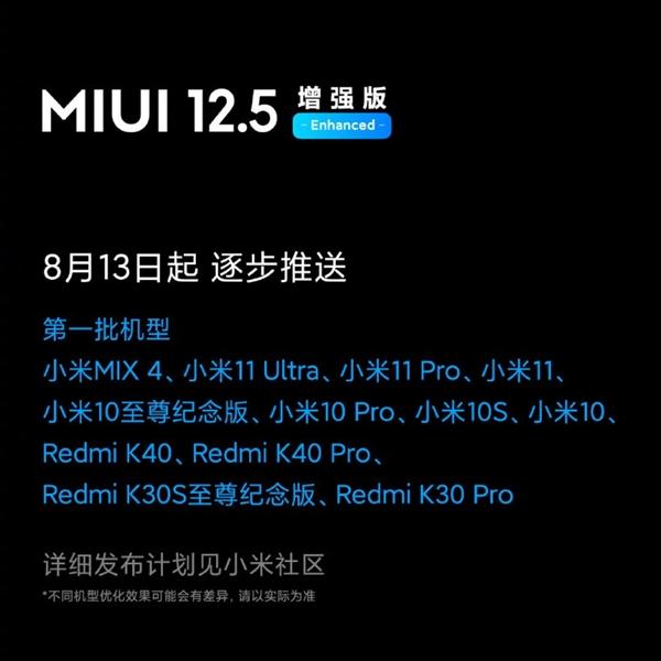 小米MIX 4/11等机型首发!MIUI 12.5增强版内测开始推送