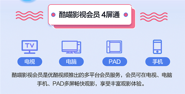 PC手机平板TV四屏通用 优酷酷喵会员年卡199元:4折大促