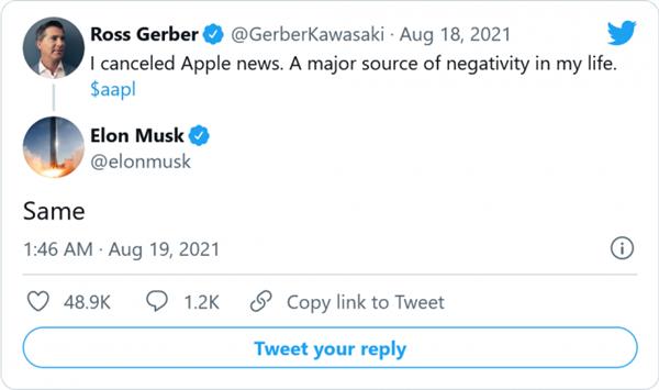马斯克炮轰苹果Apple News传递负能量:已取消订阅
