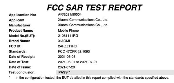 小米11T获FCC认证:外形首度曝光