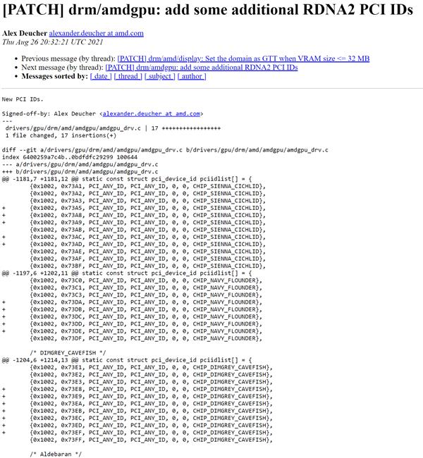AMD RX 6000显卡一口气增加17个设备ID:升级6nm?