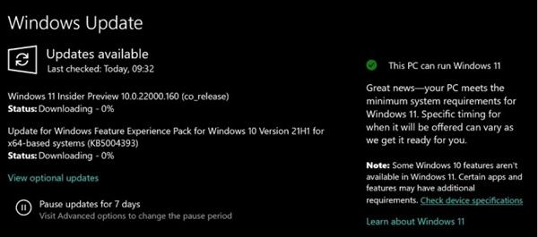 微软新举措:Update新增通知 告知当前设备是否兼容Win11