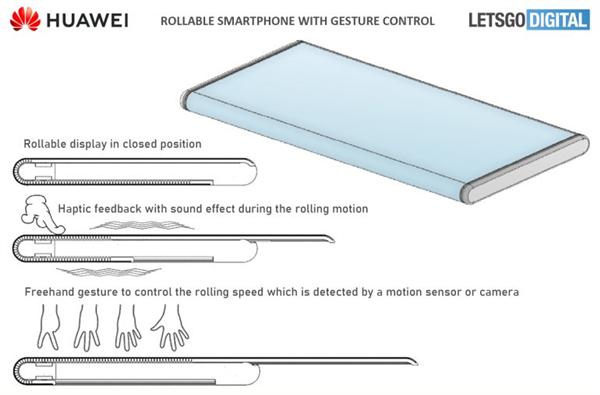华为全新设计手机专利曝光!采用环绕屏设计:手势控制伸缩