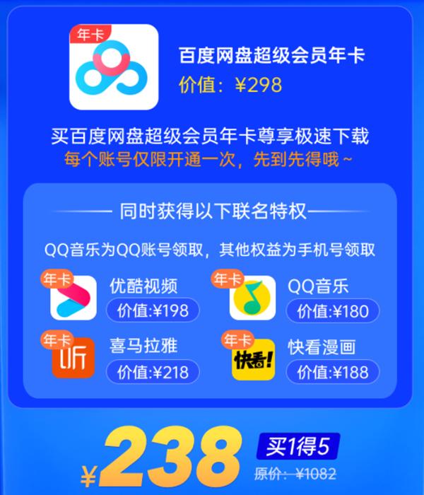 买1得5!百度网盘SVIP大促:送优酷、QQ音乐会员年卡