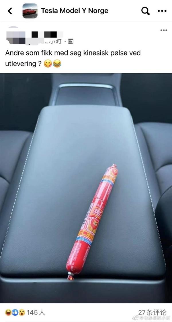 双汇火腿肠跨国旅!挪威车主提中国产特斯拉Model Y 结果扶手箱有惊喜
