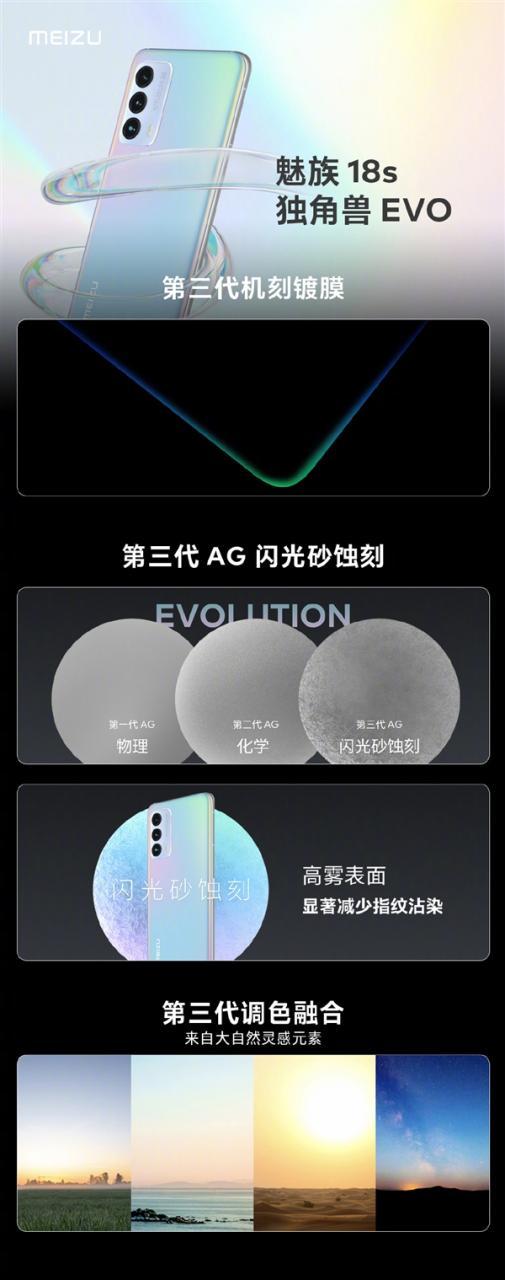 魅族18s独角兽EVO配色登场:机身能呈现四种梦幻效果