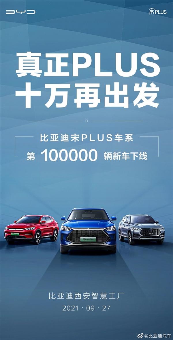 比亚迪宋PLUS第10万辆正式下线:DM-i四驱版预计月底上市